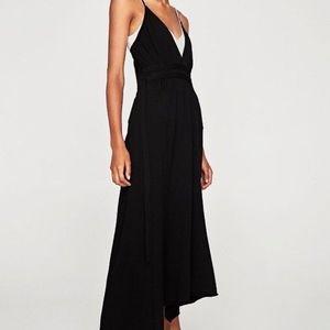 ZARA Knit Strappy Crisscross Low V Neck Maxi Dress